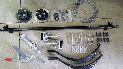 Trailer, Braked Single axle Kit, Axle, Springs, Hubs, 1400kg 7x5-8x5.Heavy Duty