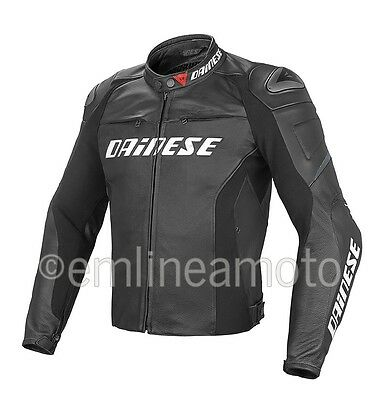 Leather Jacket Dainese Racing D1 Summer Perforated Black / Black / Black