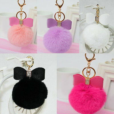 Rabbit Fur Pom-pom Keychain Bag Charm Fluffy Puff Ball Bow Key Ring Car Pendants