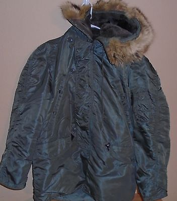 USAF Man's Nylon Twill Flying Jacket Type N-3B, Sage Green, MEDIUM, Fur Collar