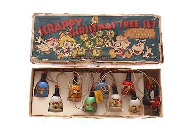 Old Antique 1930s Scrappy Christmas Tree Light Set & Original Box