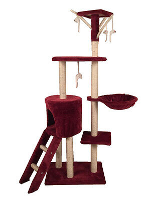 Cat Scratching  Scratcher Tree Activity Toy Pet Playing Center Climbing Red