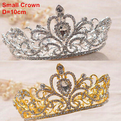 Bridal Crown King Wedding Party Prom Pageant Crystal Hair Tiara Headband Veil UK