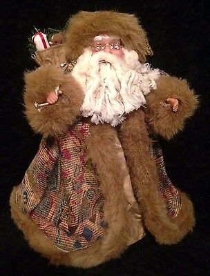 """Vintage Victorian Style Santa Tree Topper/Christmas Decoration 12"""" Tapestry/Gold"""