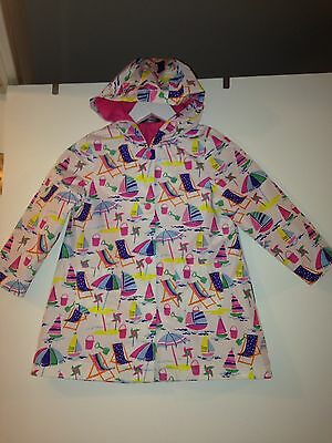 Little Girls George Colourful Rain Coat Mac Seaside Design Age 4-5y