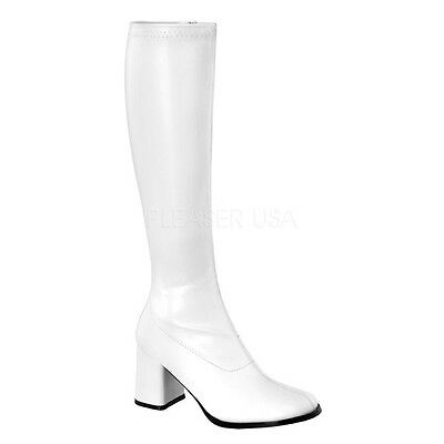 Pleaser Gogo Stiefel 300 Boots Stretch weiß white PU Damen 39 / 40 (US 9)