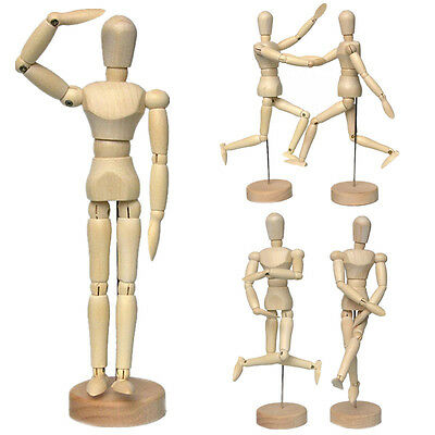 """4.5"""" 5.5"""" 8"""" Wooden Human Figure Manikin Artist Draw Painting Model Jointed Doll"""
