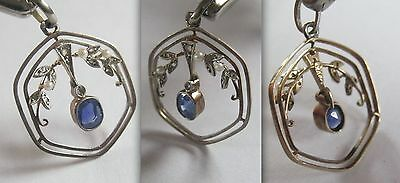 Lovely BIEDERMEIER handcrafted filigree Silver/GOLD Pendant with Ceylon sapphire