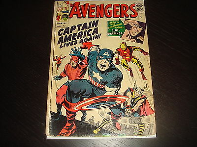 THE AVENGERS #4 1st Silver Age Captain America Marvel Comics 1963  VG-