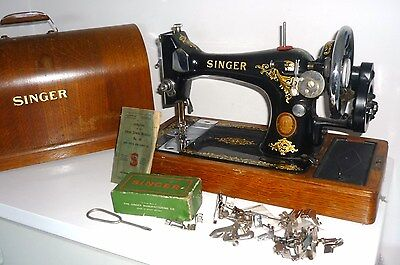 SINGER SEWING MACHINE 128K (Jan 1954) Hand Crank+Lid+accessories+Instructions
