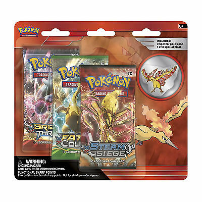 Pokemon Cards: Legendary 3 Pack Blister - Moltres - 3 Boosters + Pin Badge