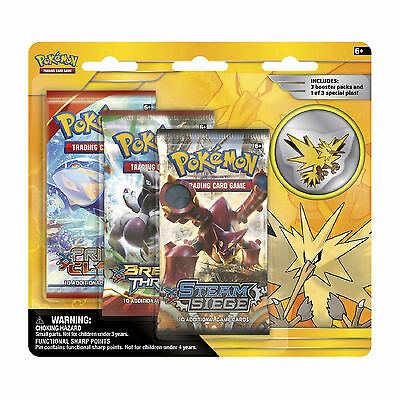 Pokemon Cards: Legendary 3 Pack Blister - Zapdos - 3 Boosters + Pin Badge