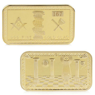 Gold Plated Masonic Freemason Freemasonry Rectangular Token Commemorative Coin
