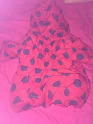 Girls Red Coat With Blue Spots 2-3 Years Old