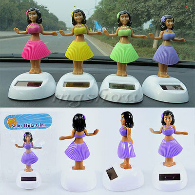 1/4pcs Solar Powered Flip Flap Dancing Hula Girl Auto Car Home Ornament Toy Gift