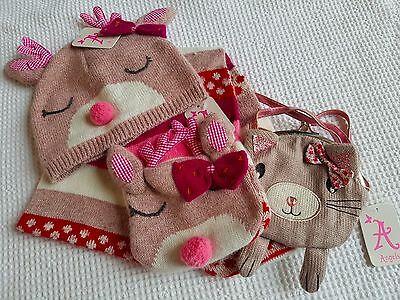 Monsoon/Accessorize Girls Hat, Scarf and Bag