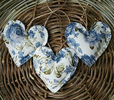 Handmade Floral Fabric Hanging Hearts Set of 3  Shabby Chic.