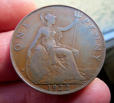 1922 One penny King George V th Lower Mintage