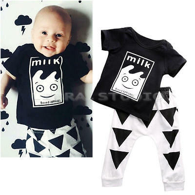 Toddler Infant Baby Clothes Cartoon Print T-shirt Tops & Pants Outfits 12-18 M