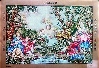 """PRINTED TAPESTRY CANVAS. On the river 65x90cm(28""""x36"""") GOBELIN 17.193"""