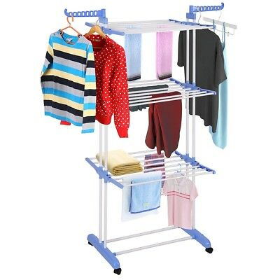 """66"""" Portable Clothes Drying Rack Folding Laundry Dryer Hanger Steel"""
