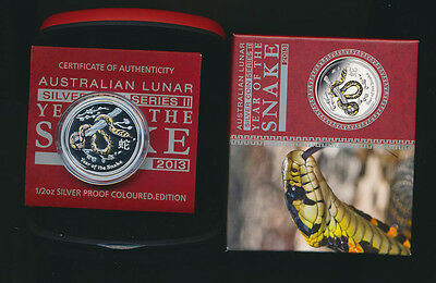 Australia: 2013 50c Year of The Snake Coloured ½oz Silver Proof Issue Price $67