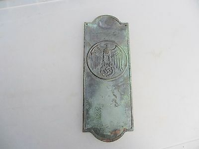 Vintage Solid Brass Finger Plate Push Door Handle Architectural Germany Nazi WW2