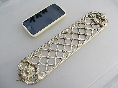 Antique Brass Finger Plate Push Door Handle Pierced Flower Vintage Nickel Shell