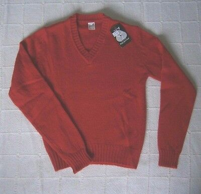 Vintage Ladybird Wool Sweater - 12 Years Approx - Red V-Neck - New
