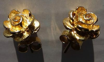 9ct Gold Earrings Rose Shaped