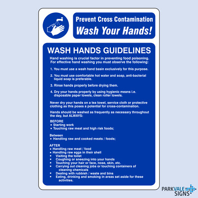 Wash Hands Guidelines Catering Sign
