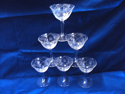 """6 Vintage Beautiful Small Champagne,  Sherbet, Cocktail Coups Glasses 4"""""""