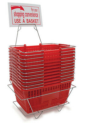 Plastic Shopping Basket Retail Grocery Store Cart Lightweight Lot of 12 Red NEW