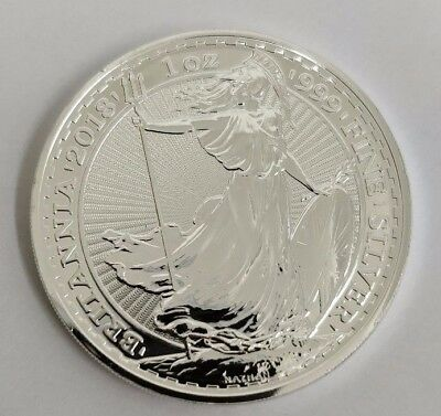 2018 Genuine Silver Britannia, unc: 1oz Troy ounce Fine Silver Bullion Coin