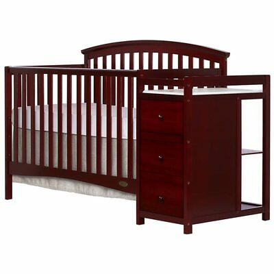 Dream On Me Niko 5-in-1 Convertible Crib with Changer in Cherry
