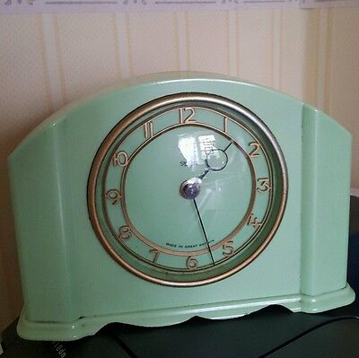 QUALITY ART DECO GREEN SMITHS CLOCK working iconic retro look kitchen