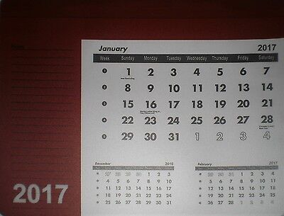Red / White 2017 Mouse Pad Calendar