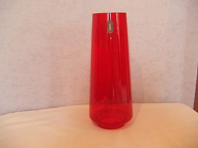 Vintage Whitefriars Ruby Red Glass Lamp Chimney with Original label