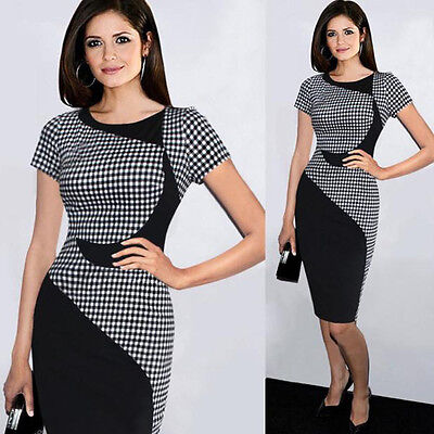 Women Lady Short Sleeve Bodycon Formal Cocktail Evening Midi Pencil Office Dress