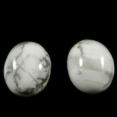 1 Pair Natural Howlite Gemstone 10x12mm Oval Cab 12 cts Stones ER4167