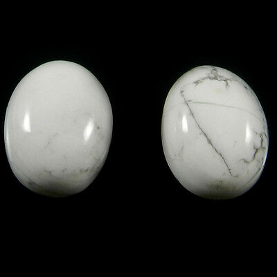 1 Pair Natural Howlite Gemstone 12x16mm Oval Cab 24.2 cts Stones ER4169