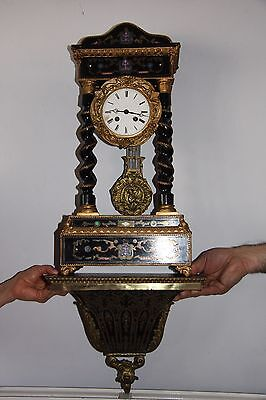 Antique 19th century French Ebonised Portico Clock overall Height 32""