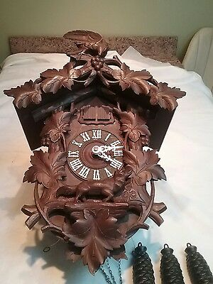 Antique   Quail Fox And Grape Cuckoo Clock
