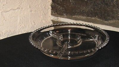 Candlewick serving dish divided 3 sections center bowl area nice quality item
