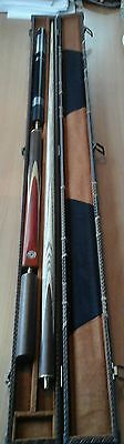 Handmade 4 Piece Snooker Cue Set with Brown Leather Case and Extensions