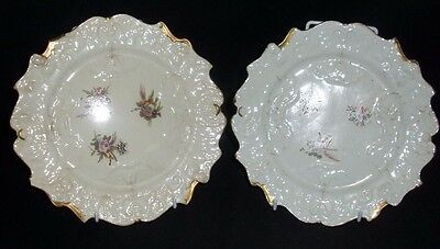 Two Moulded Hand Painted Early Gilded Porcelain Plates No Markings (Su)