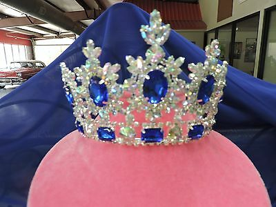 "ALL AB stones with Large Royal Blue stones Tiara/Crown Beautiful. 4"" tall"