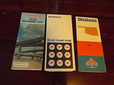 Vtg 60s 70s Lot of 3 Gas Station Oil Advertsing Oklahoma Road Maps