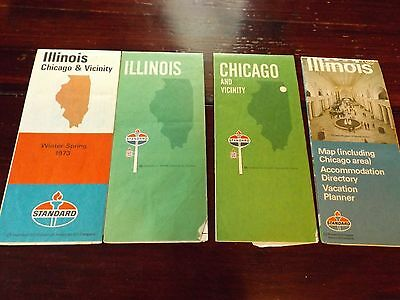 Vtg 60s 70s Lot of 4 Gas Station Standard Oil Advertsing Illinois Road Map