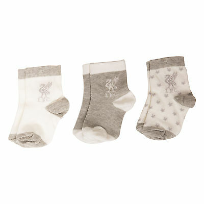 Liverpool FC  LFC Liverbird 3 Pack Grey Baby Socks Official